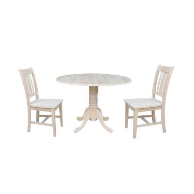 Brynwood 3-Piece 42 in. Unfinished Round Drop-Leaf Wood Dining Set with San Remo Chairs