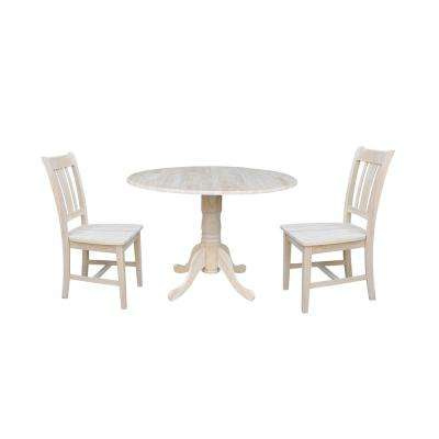 Solid Wood 3-Piece Ready to Finish Drop-leaf Dining Set