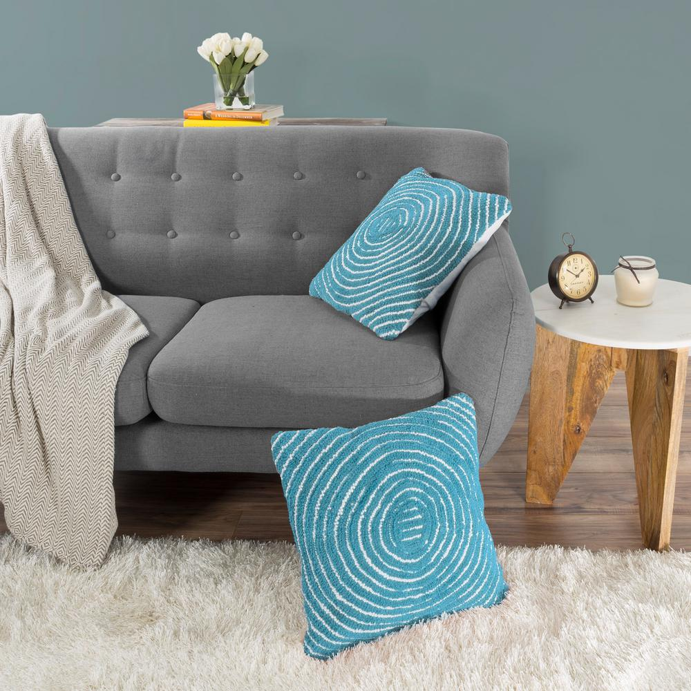 Modern Concentric Circle Blue Decorative Pillow
