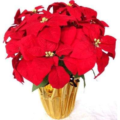 21 in unlit silk poinsettia arrangement 6 pack