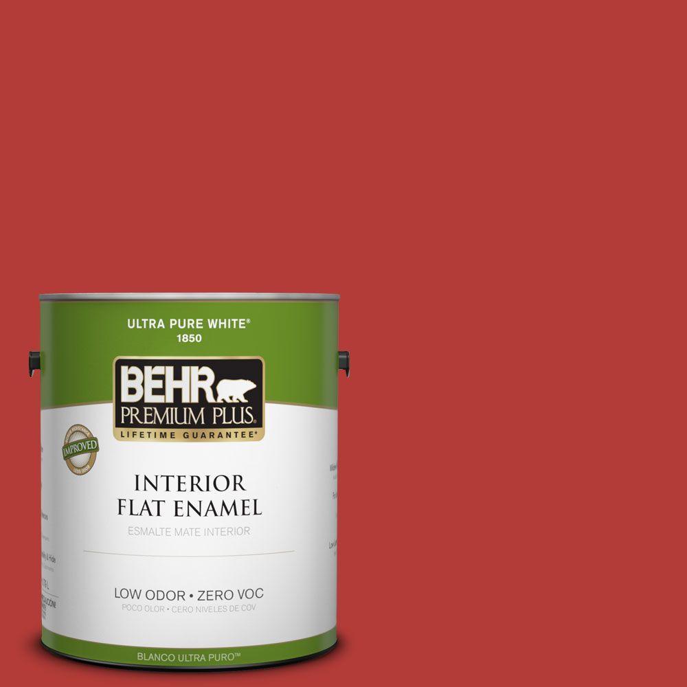 BEHR Premium Plus 1-gal. #170B-7 Red Tomato Zero VOC Flat Enamel Interior Paint-DISCONTINUED