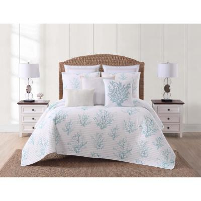 Cove 3-Piece White and Blue Full/Queen Quilt Set