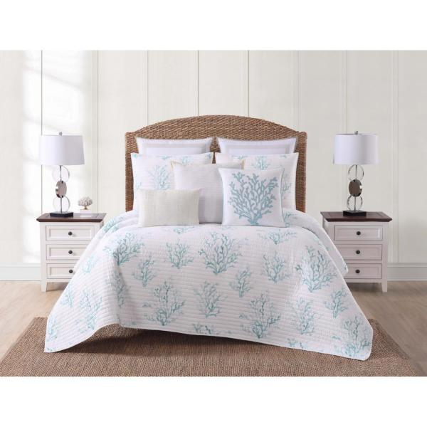 Cove 3-Piece White and Blue King Quilt Set