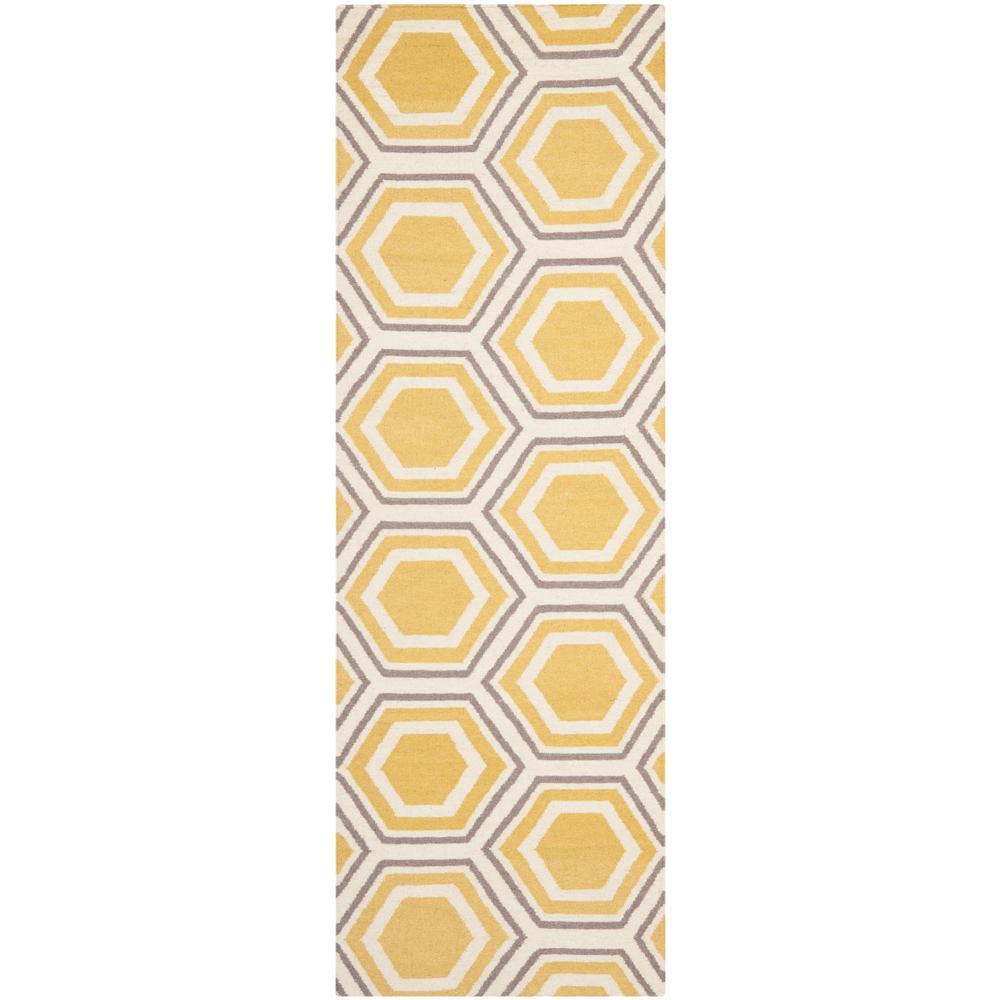 Dhurries Ivory/Yellow 3 ft. x 14 ft. Runner Rug