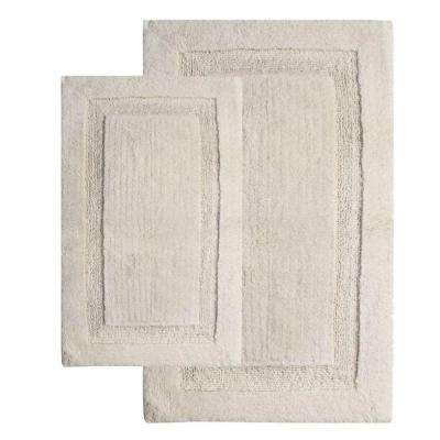 Olympia Ivory 21 in. x 34 in. and 24 in. x 40 in. 2-Piece Bath Rug Set