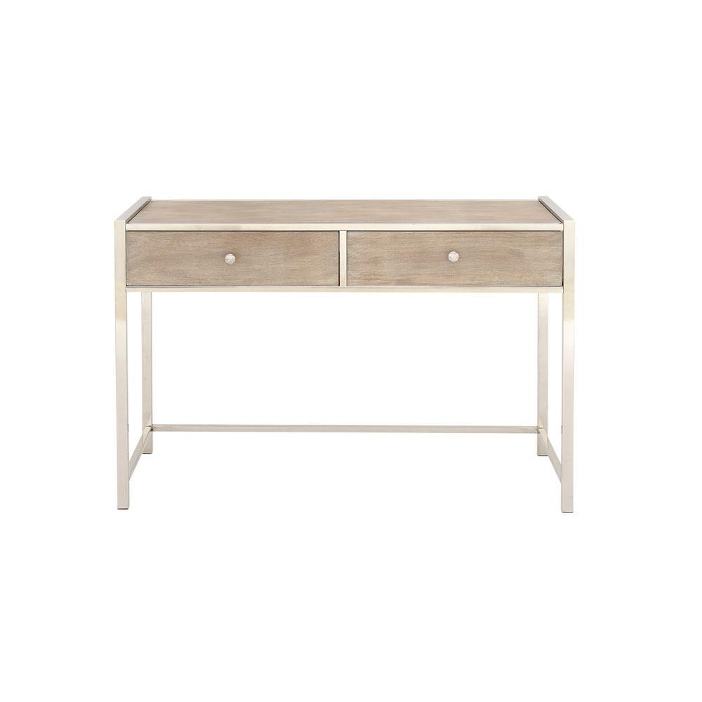 Litton Lane Gray Rectangular 2-Drawer Console Table 74794
