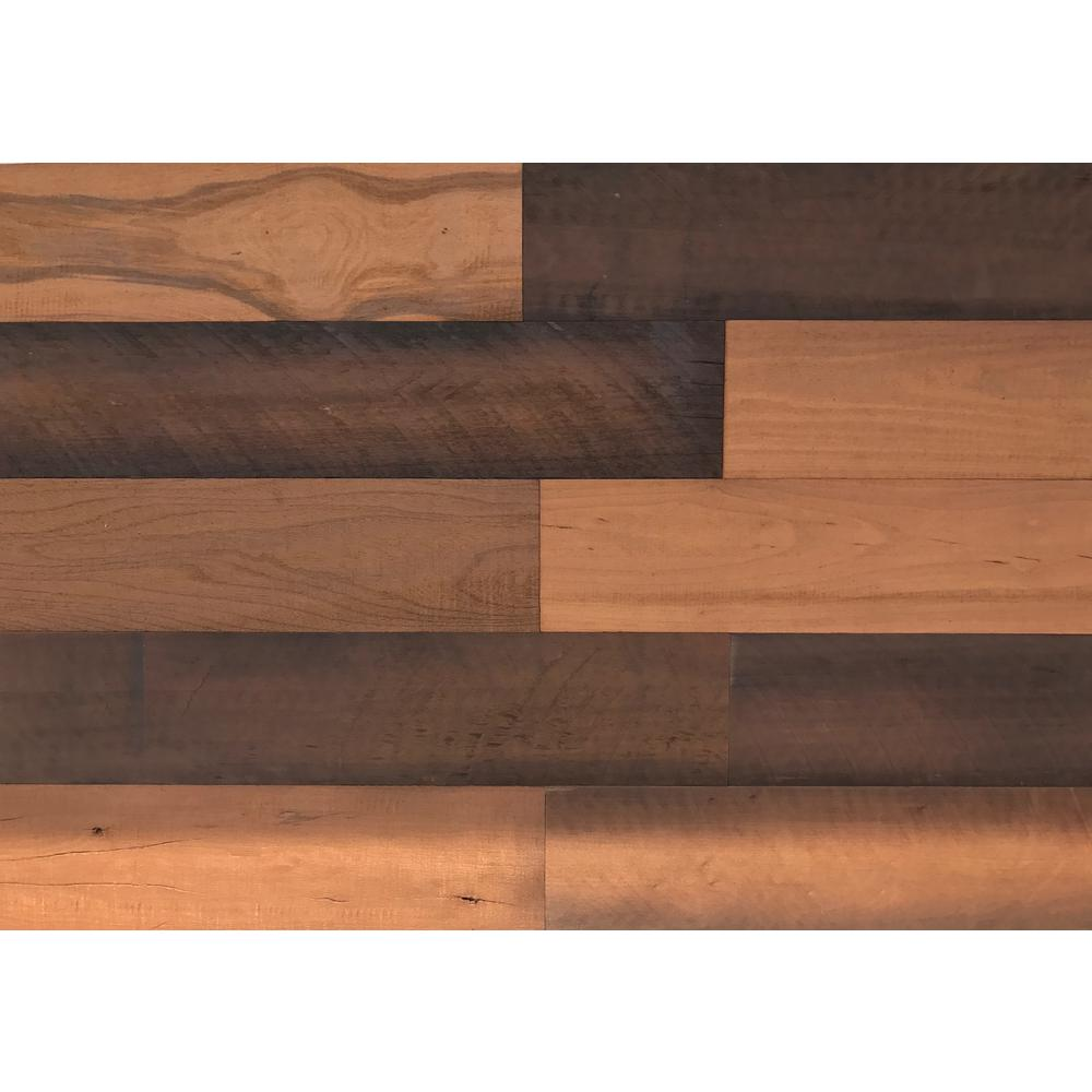 Easy Planking 1/4 in. x 5 in. x 2 ft. Brown Reclaimed Easy Paneling 3D Barn Wood Wall Plank (Design 1) (12 – Case)