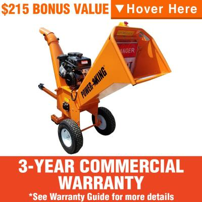 Power King 5 in. 14 HP Gas Powered Commercial Chipper Shredder Kit w/ Heavy-Duty Tires, Wheel Extension Set and XL Trailer