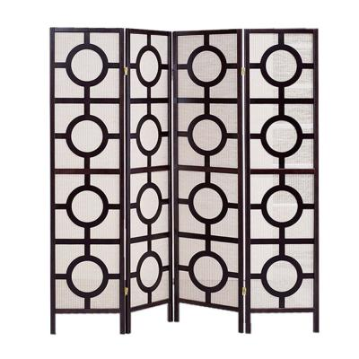Screen Gems Jute Inlay 6 ft. Brown 4-Panel Room Divider