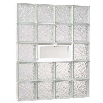 31 in. x 38.75 in. x 3.125 in. Ice Pattern Glass Block Masonry Window with Vent