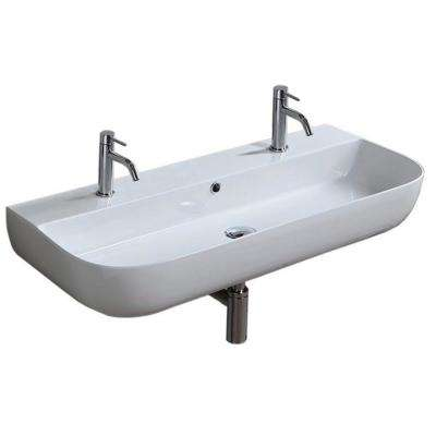 Glam Wall Mounted Bathroom Sink in White