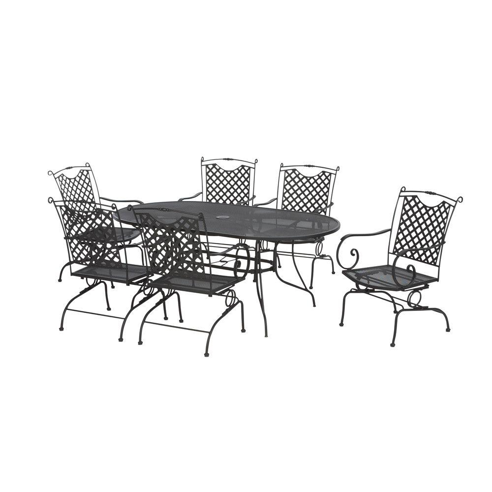 null Black Wrought Iron 7-Piece Lattice Back Patio Dining Set -DISCONTINUED