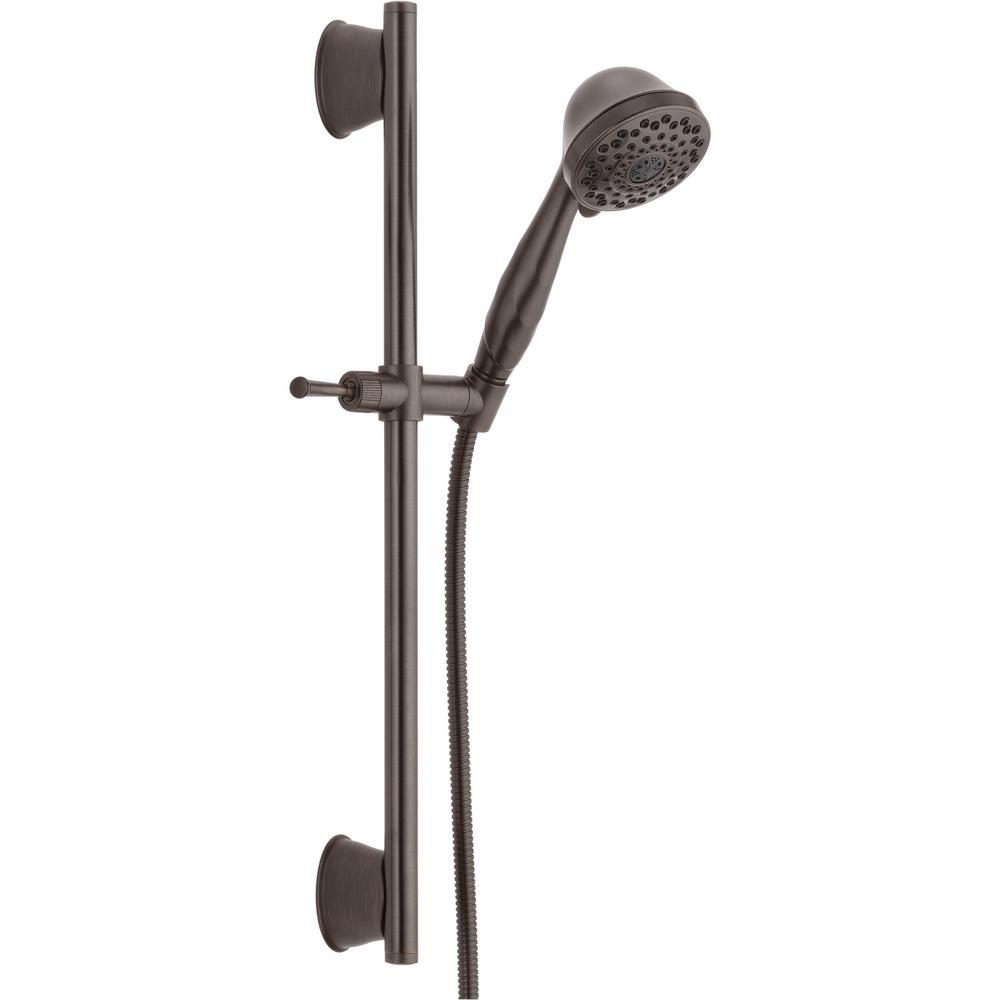 7-Spray Handheld Showerhead with Slide Bar and Pause in Venetian Bronze
