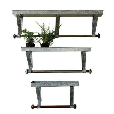 38 in. x 11.5 in. x 9 in. Grey Metal Decorative Wall Shelf with Brackets (Set of 3)