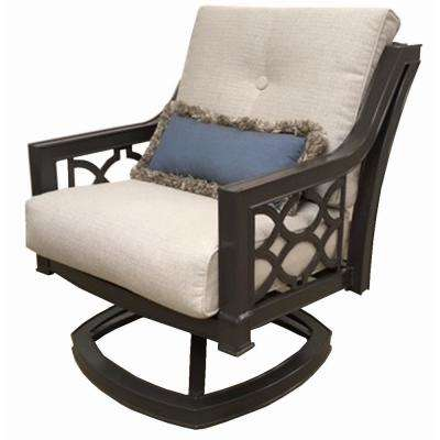 Richmond Hill Swivel Aluminum Outdoor Lounge Chair with Hybrid Smoke Cushions (2-Pack)