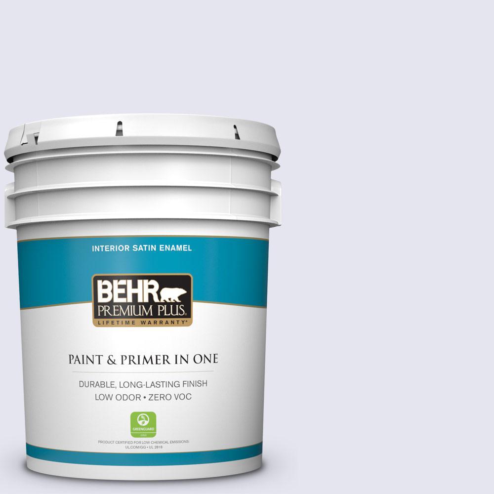 BEHR Premium Plus 5-gal. #630C-1 Lavender Haze Zero VOC Satin Enamel Interior Paint