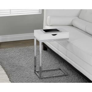 Monarch Specialties Glossy White Storage End Table I 3031   The Home Depot