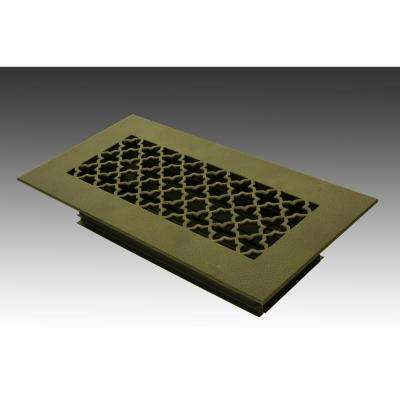 12 in. x 4 in. Oil Rubbed Bronze Poweder Coat Steel Floor Vent with Opposed Blade Damper
