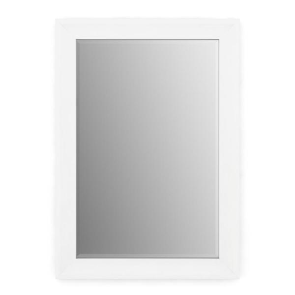 33 in. W x 47 in. H (L1) Framed Rectangular Deluxe Glass Bathroom Vanity Mirror in Matte White