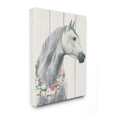 "16 in. x 20 in. ""Spirit Stallion Horse With Flower Wreath"" by James Wiens Printed Canvas Wall Art"