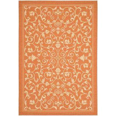 Courtyard Terracotta/Natural 9 ft. x 12 ft. Indoor/Outdoor Area Rug