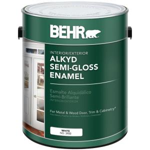 Behr 1 gal white alkyd semi gloss enamel interior exterior paint 390001 the home depot for Satin enamel vs semi gloss exterior