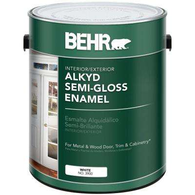 1 gal. White Alkyd Semi-Gloss Enamel Interior/Exterior Paint