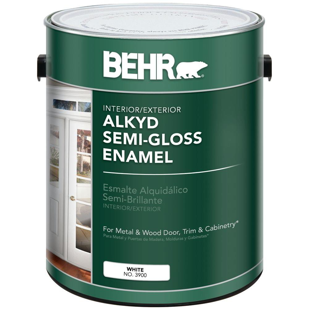 Behr 1 Gal White Alkyd Semi Gloss Enamel Interior Exterior Paint 390001 The Home Depot