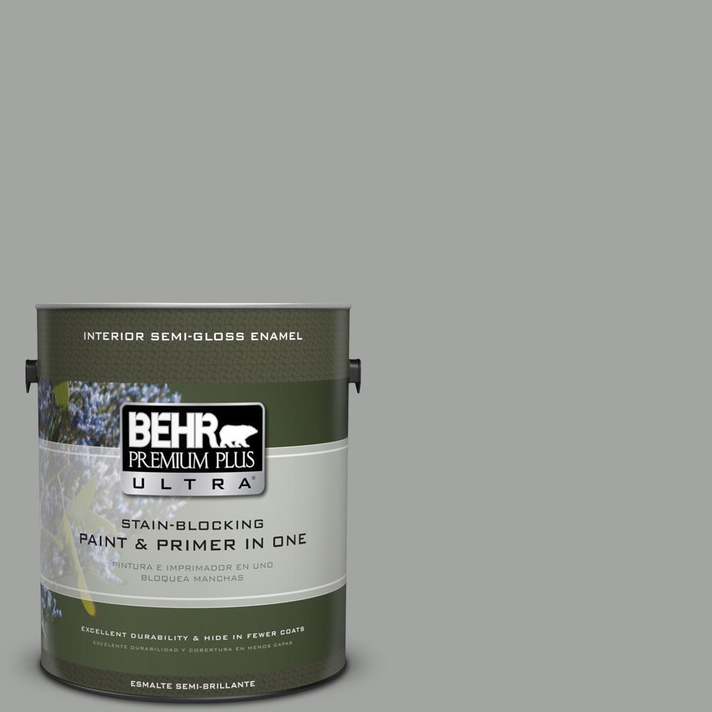 1 gal. #PPU24-18 Great Graphite Semi-Gloss Enamel Interior Paint