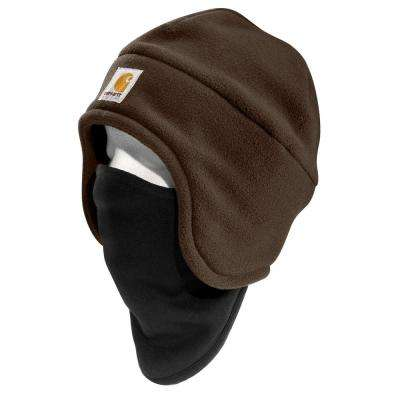Men's OFA Dark Brown Polyester Fleece 2 in 1 Headwear