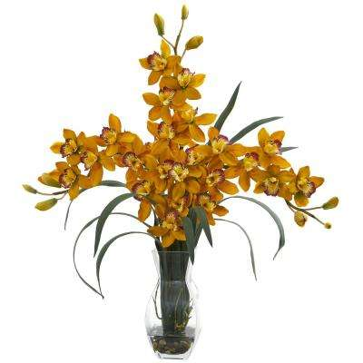 Indoor Triple Orchid Cymbidium in Vase Artificial Arrangement