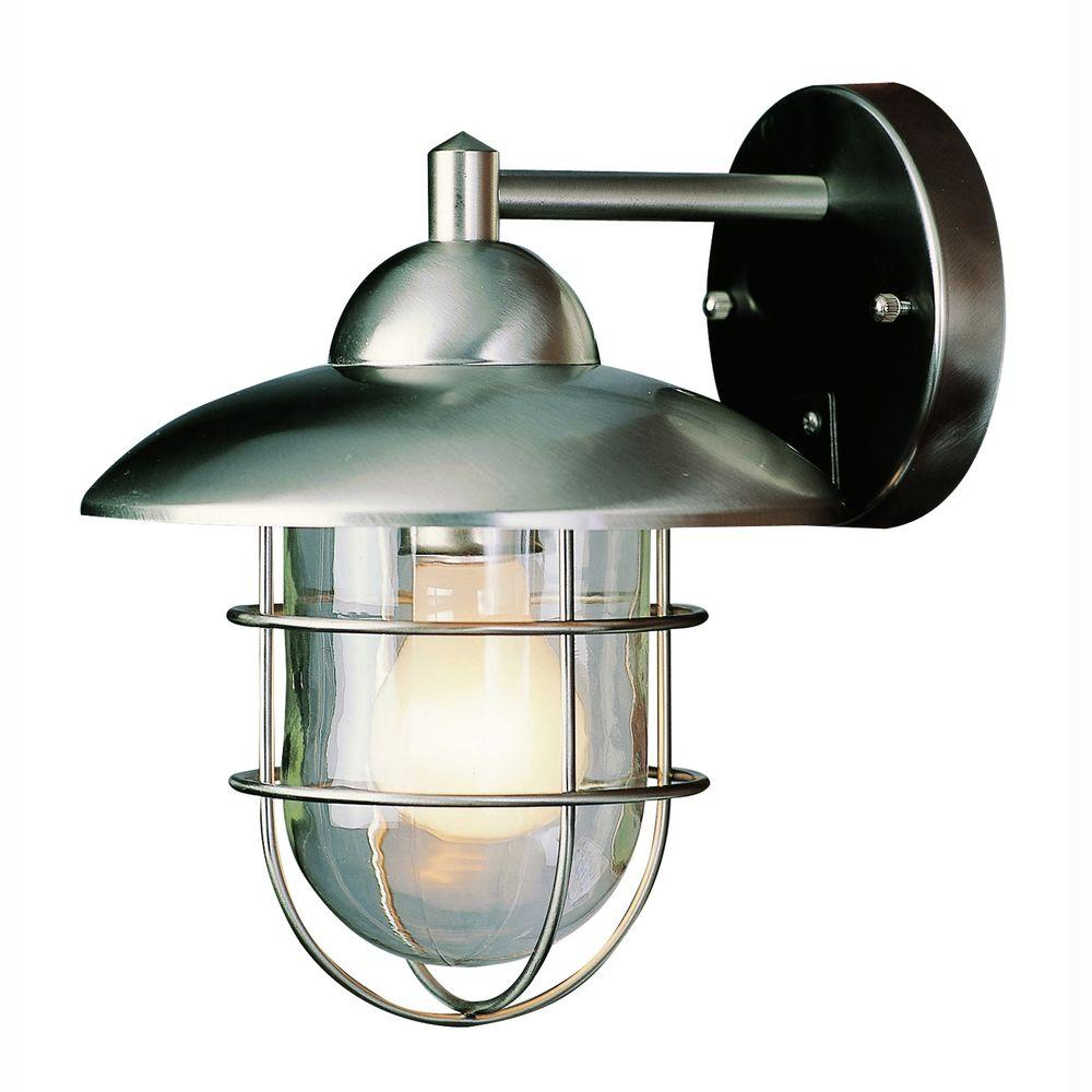 Bel Air Lighting 1 Light Stainless Steel Wire Frame Outdoor Coach Lantern Sconce With Clear Gl