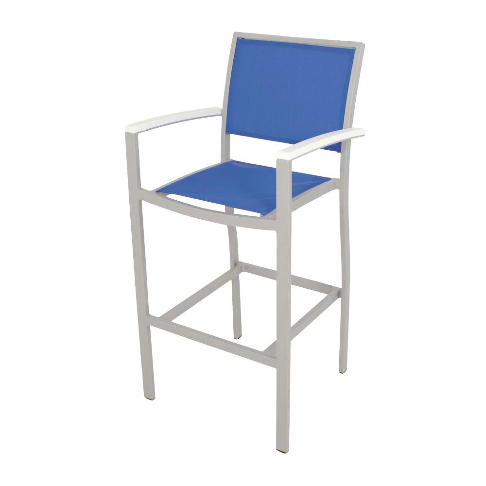 Bayline Textured Silver/White/Royal Blue Sling Patio Bar Arm Chair