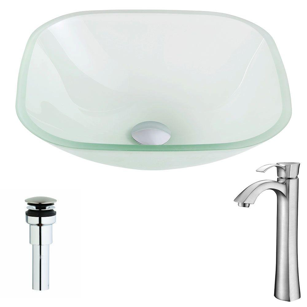SPA WORLD CORP Vista Series Deco-Glass Vessel Sink in Lustrous Frosted with Harmony Faucet in Brushed Nickel, Clear was $259.99 now $207.99 (20.0% off)