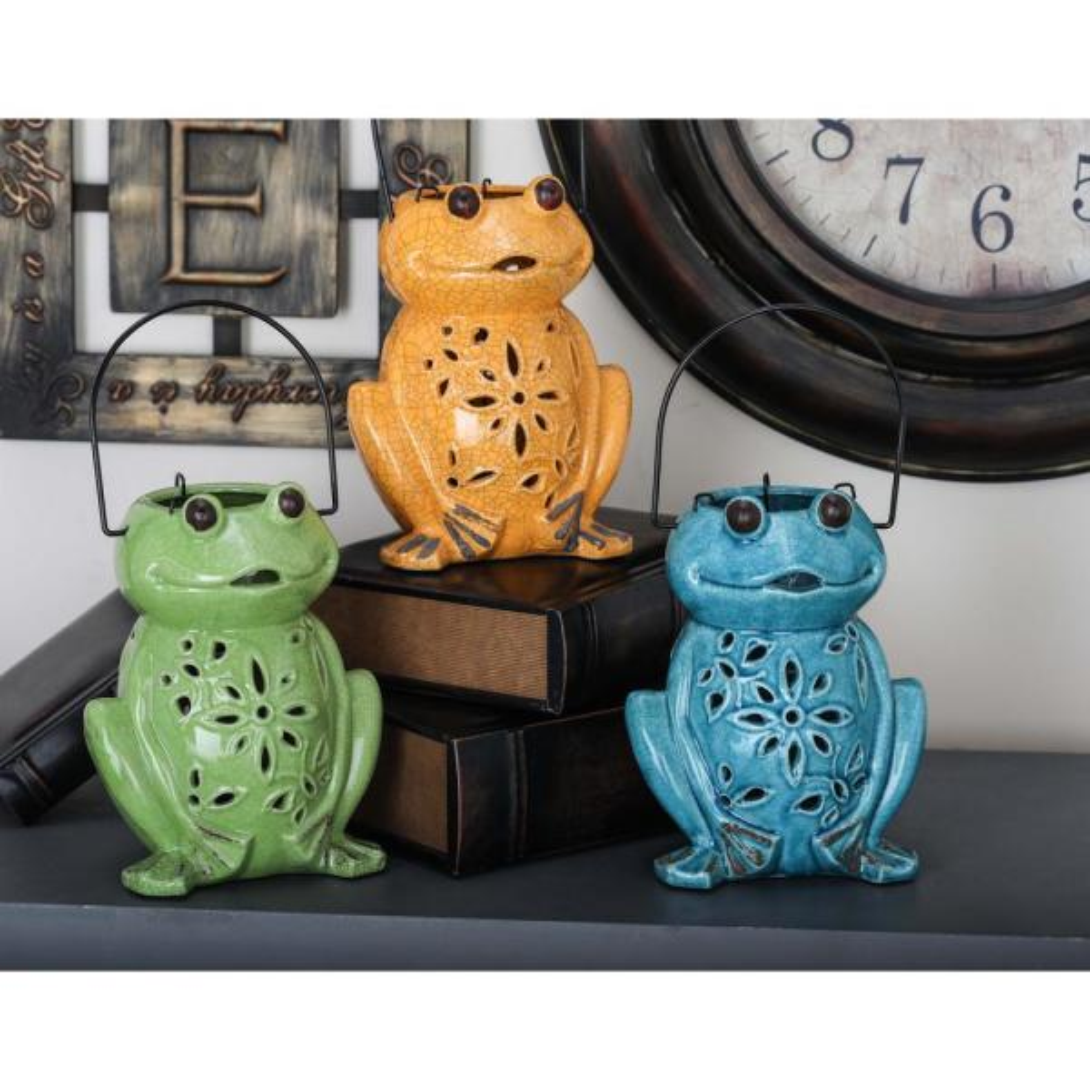 Litton Lane Ceramic Frog Candle Lanterns with Handle (3-Pack)