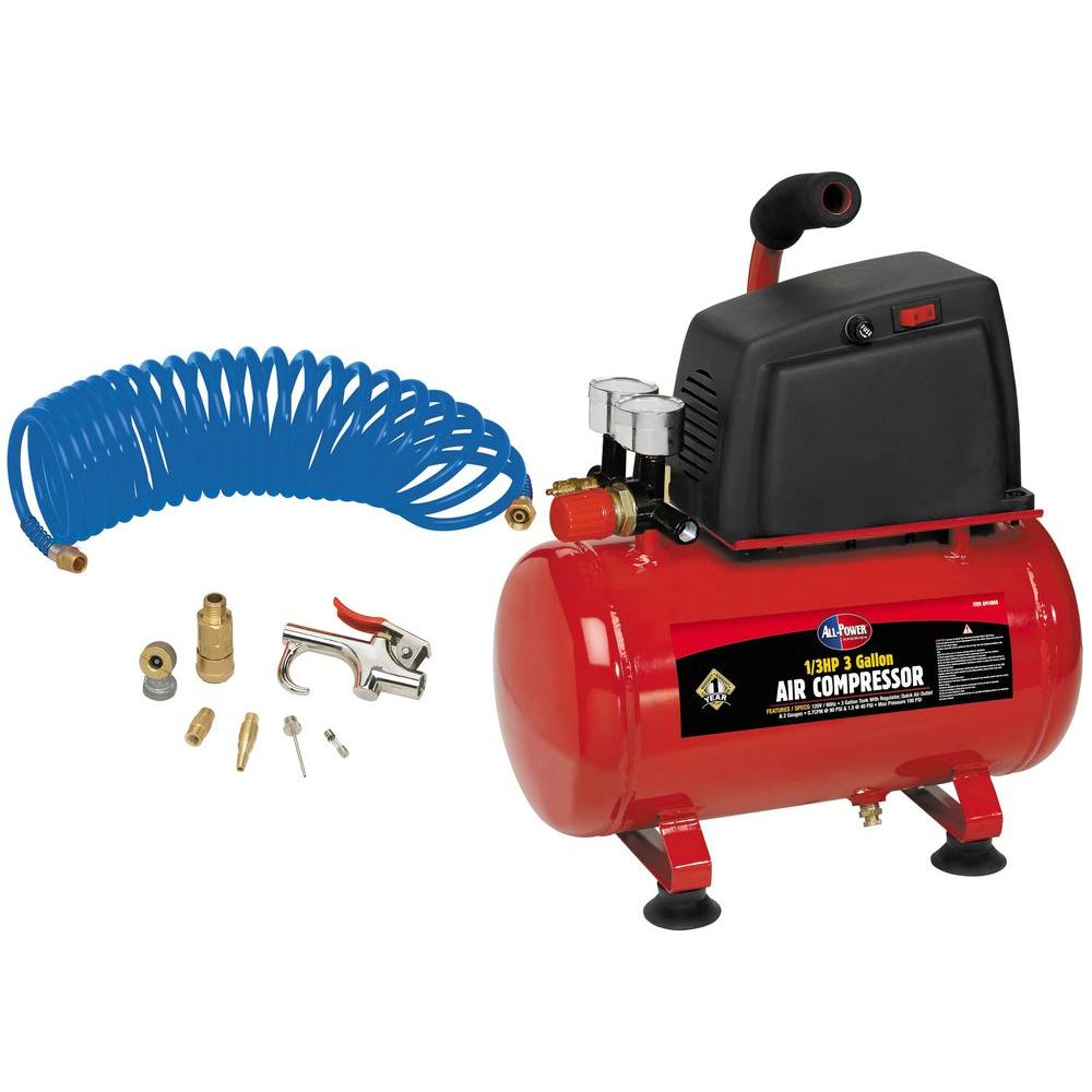 null 3 gal. All Power 1/3 HP Air Compressor with Accessories