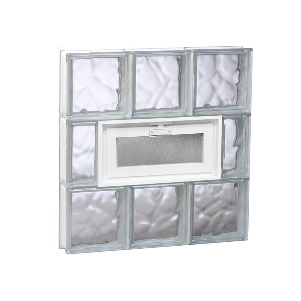 Clearly Secure 23.25 in. x 23.25 in. x 3.125 in. Frameless Wave Pattern Vented Glass Block Window
