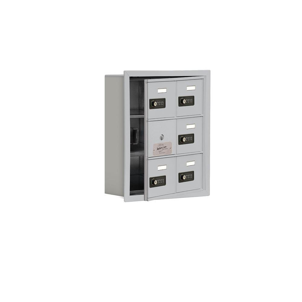 19100 Series 16.25 in. W x 18.75 in. H x 5.75 in. D 5 Doors Cell Phone Locker R-Mount Resettable Locks in Aluminum