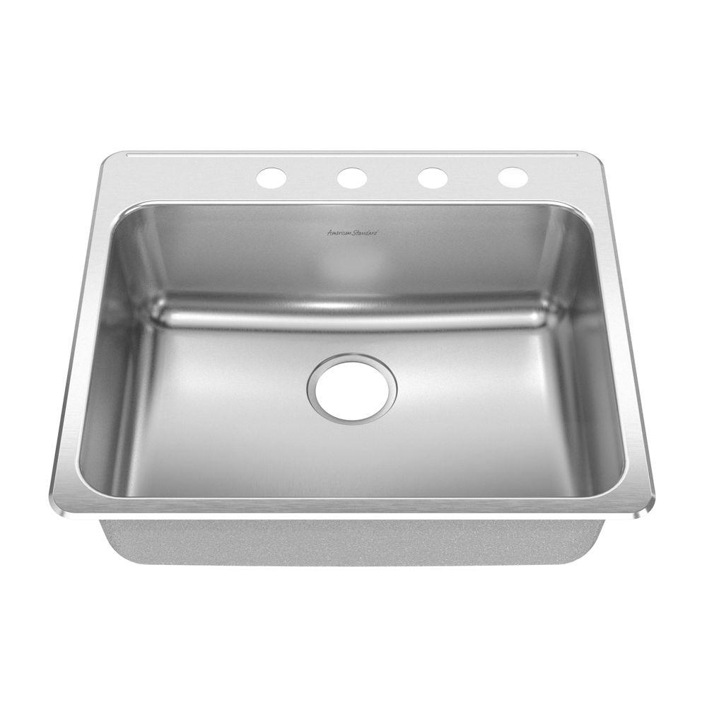 American Standard Prevoir Drop In Brushed Stainless Steel 25 In 4 Hole Single Bowl Kitchen Sink