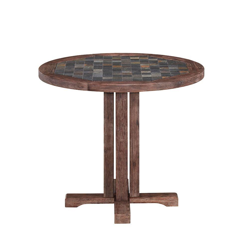 Wood Round Dining Table: Hampton Bay 59 In. Old Town Round Teak Patio Dining Table