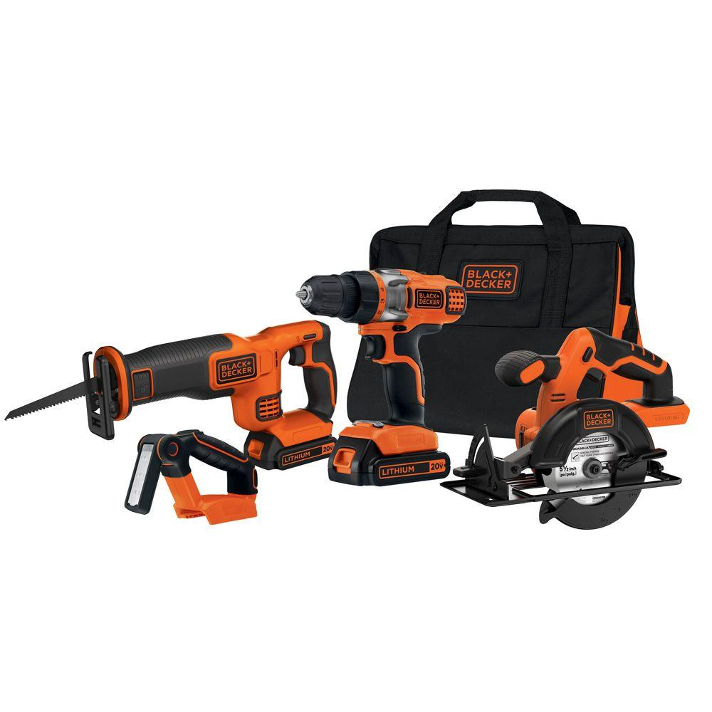 black and decker power tools. black+decker 20-volt max lithium-ion cordless combo kit (4-tool) with (2) batteries 1.5ah, charger and bag-bdcd2204kit - the home depot black decker power tools o