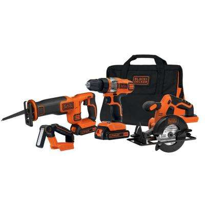 20-Volt MAX Lithium-Ion Cordless Combo Kit (4-Tool) with (2) Batteries 1.5Ah, Charger and Kit Bag