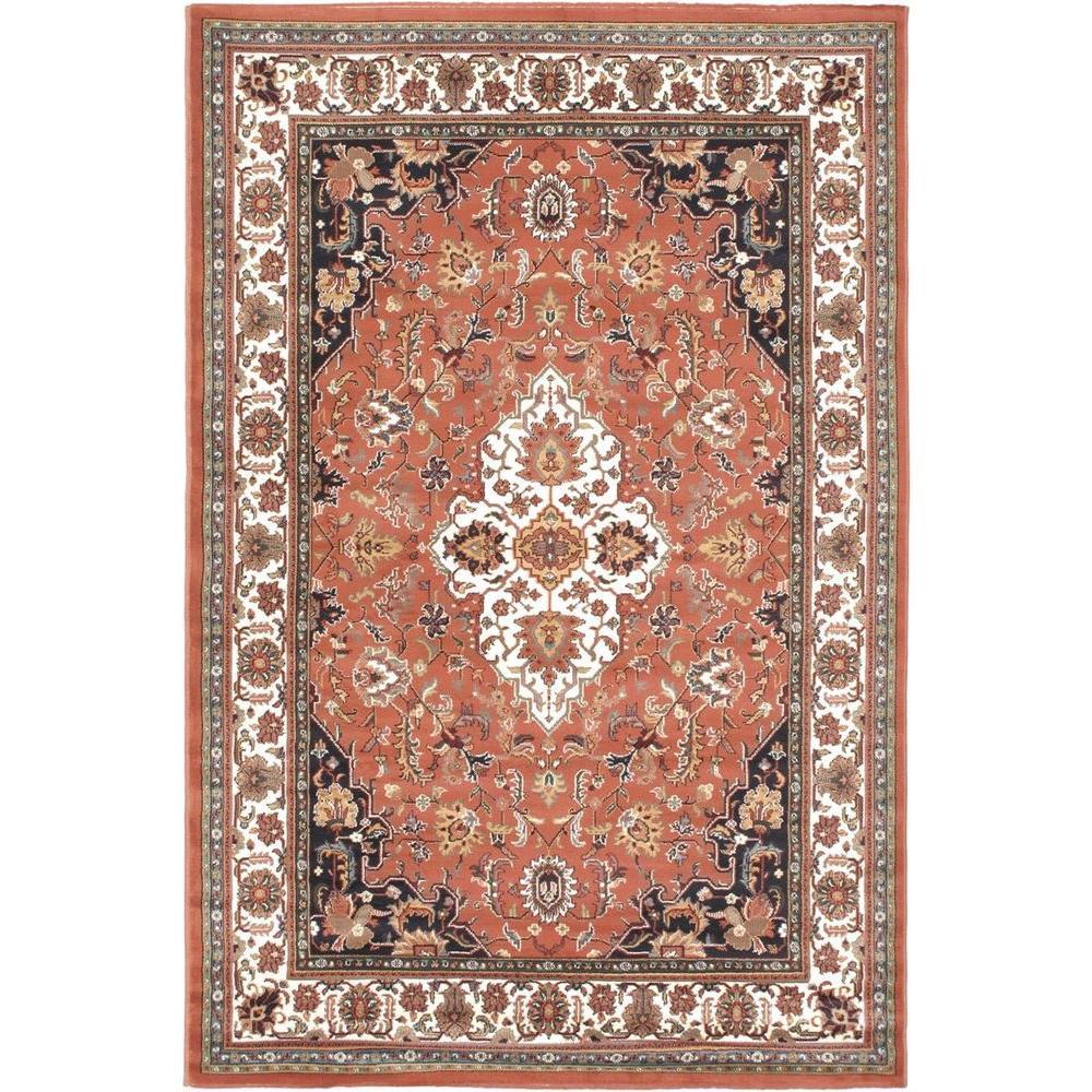 Ecarpet Gallery Medallion Style Copper 5 Ft 6 In X 7 Ft