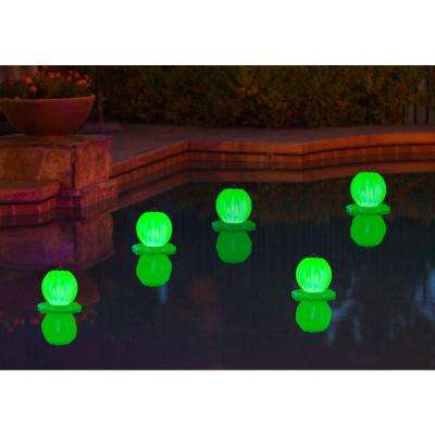 Floating Solar Swimming Pool Lantern - 2 Pack in Green