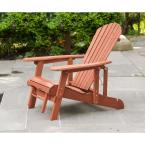 Reclining Patio Adirondack Chair with Pull-Out Ottoman