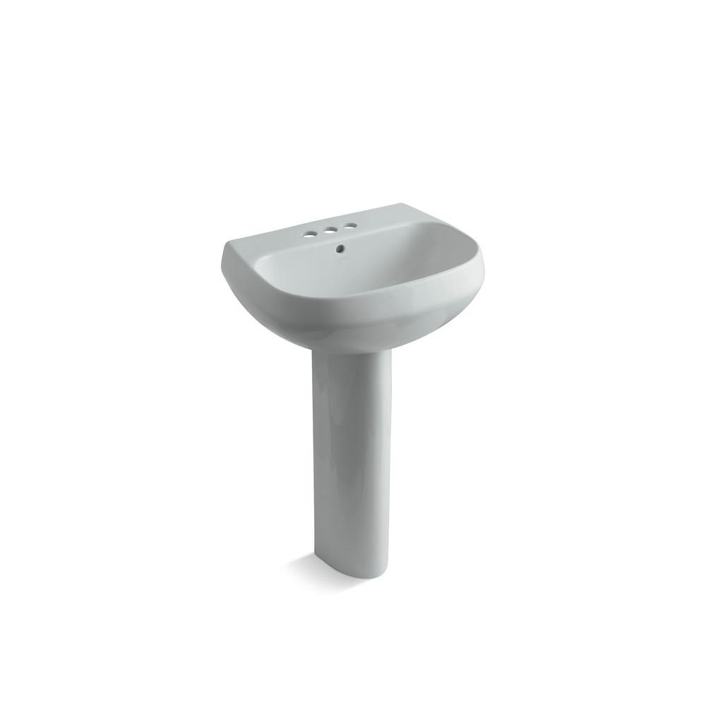 KOHLER Wellworth Pedestal Combo Bathroom Sink in Ice Gray-DISCONTINUED