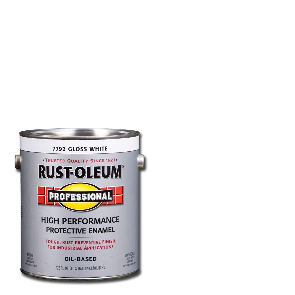 Rust Oleum Professional 1 Gal High Performance Protective Enamel Gloss White Oil Based Interior Exterior Paint