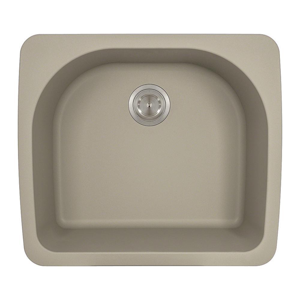 Drop-in Granite Composite 25 in. Single Bowl Kitchen Sink in Slate