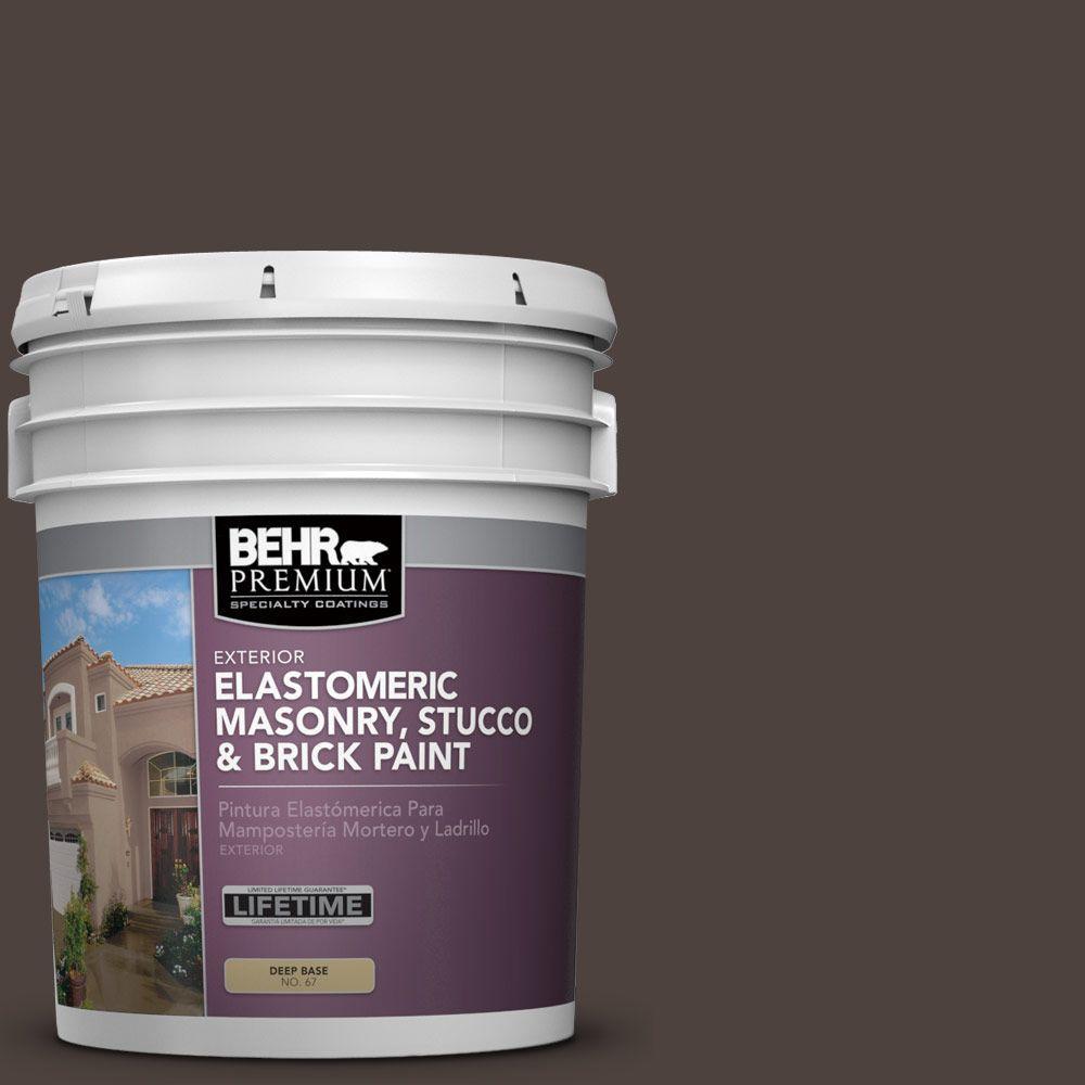 BEHR Premium 5 gal. #MS-90 Deep Chocolate Elastomeric Masonry, Stucco and Brick Exterior Paint