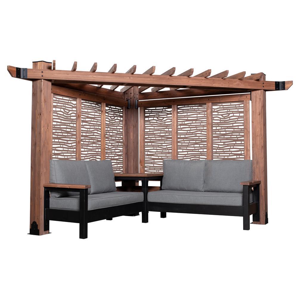 Fireside Cabana Pergola 3-Piece Cedar Patio Conversation Deep Seating Set w/ Sunbrella Slate Cushions and Bamboo Panels